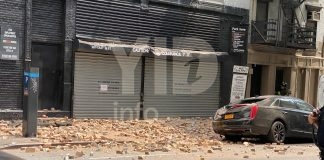 One injured following a building collapse in Manhattan.