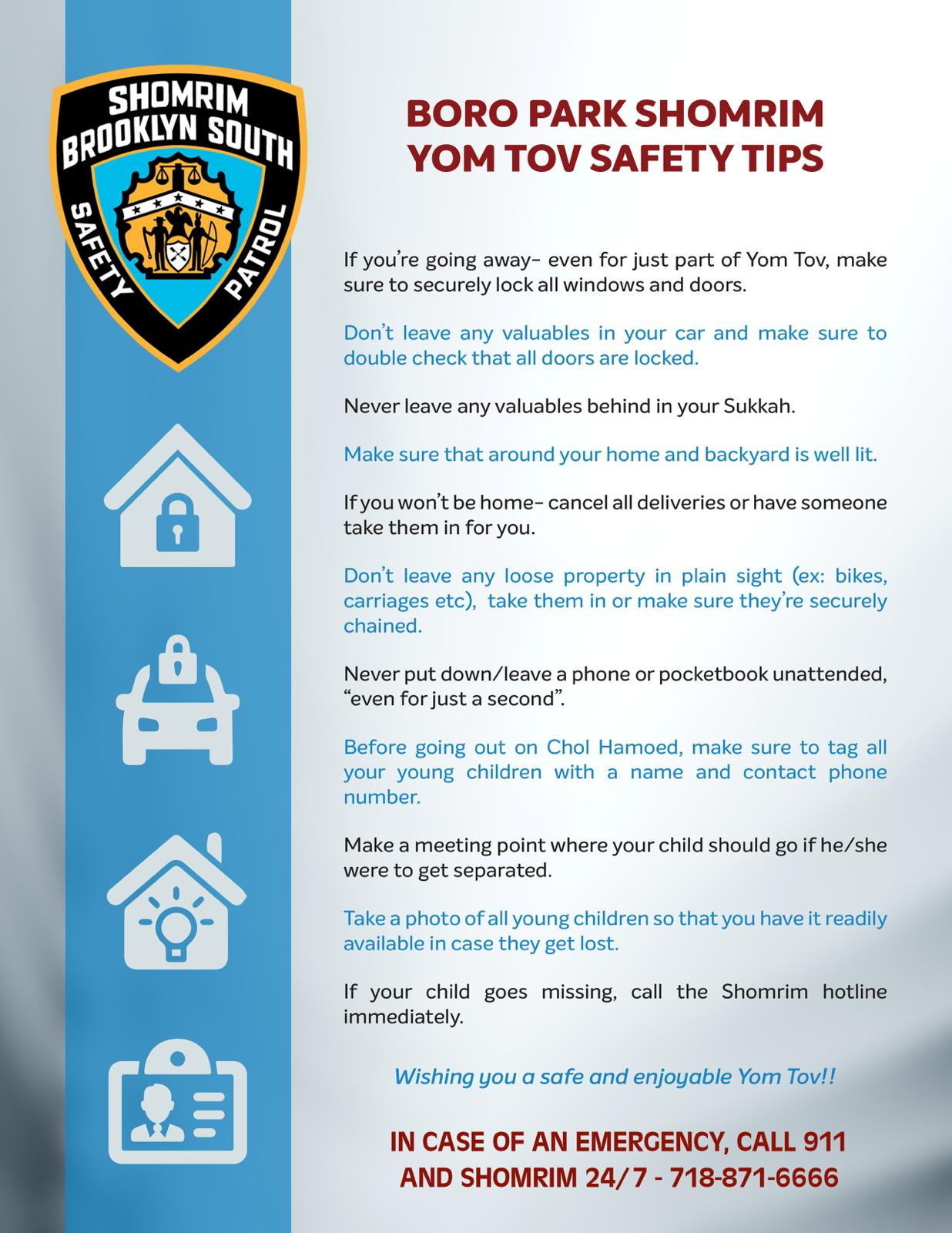 Shomrim from multiple neighborhoods with Safety Tips