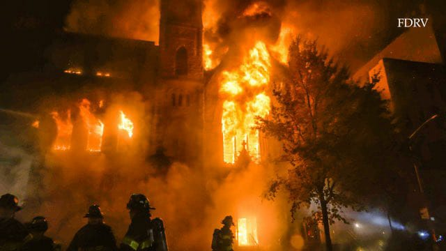 Six-alarm fire destroys historic East Village Church.