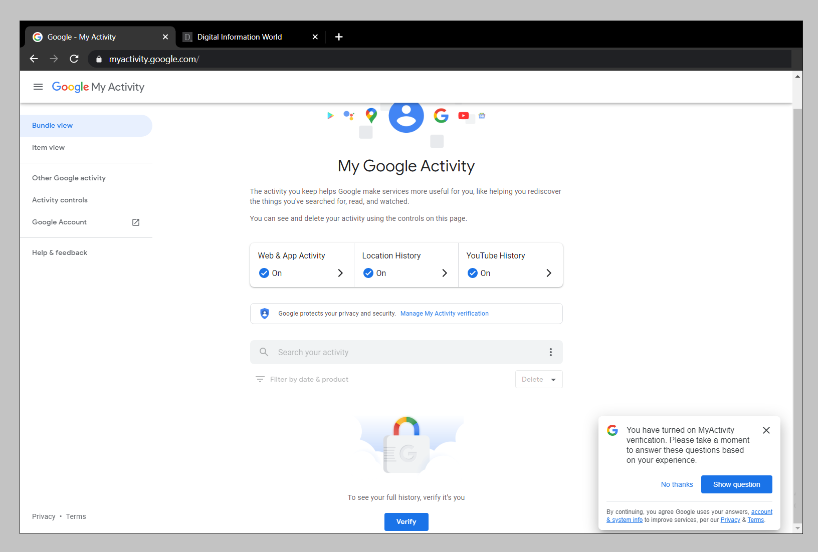 You Can Now Add A Password To Google's Web and Activity Page That Shows All Your Searches