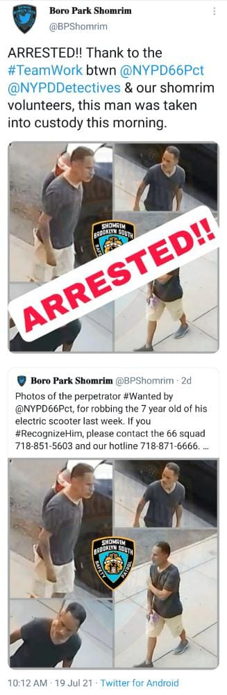 Police arrest man who stole scooter of a Jewish boy, 7