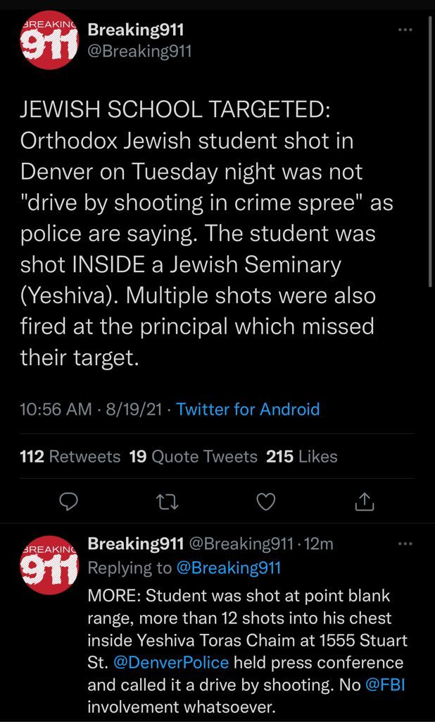 Jewish Boy was the main targets in the Denver Yeshiva shooting
